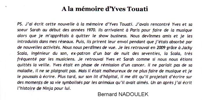 NADOULEK Bernard hommage à Yves TOUATI