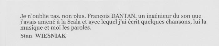 DANTAN François témoignage de WIEZNIAK Stan