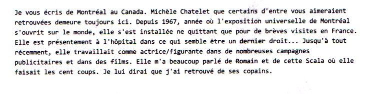 CHATELET Michèle email d'un ami de MONTREAL